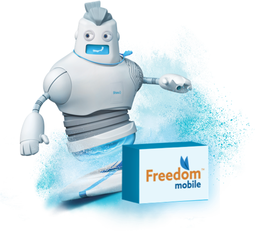 Bodi the Bot surfing with a Freedom mobile logo